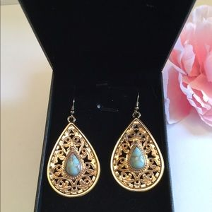 Gold over with Larimar Gemstones Earrings